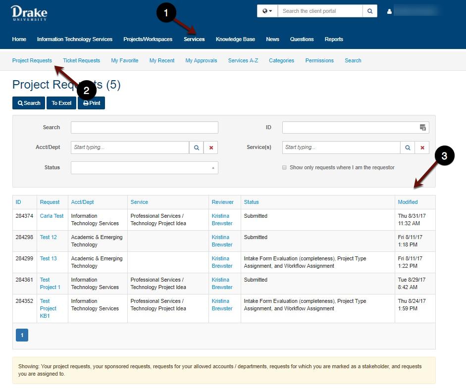 Project Requests status screenshot