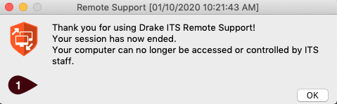Remote Support session has ended window