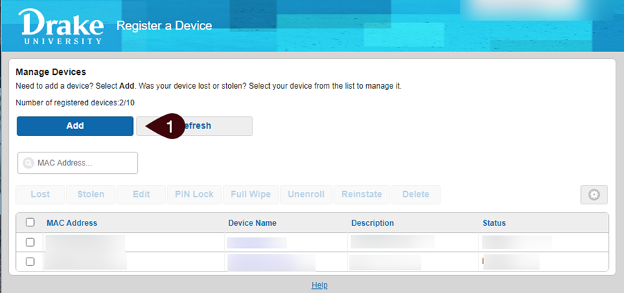 No registered devices screen