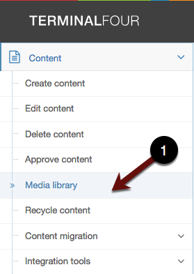 Media Library from Content Menu (Screenshot)