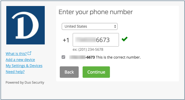 Enter your device's phone number screenshot