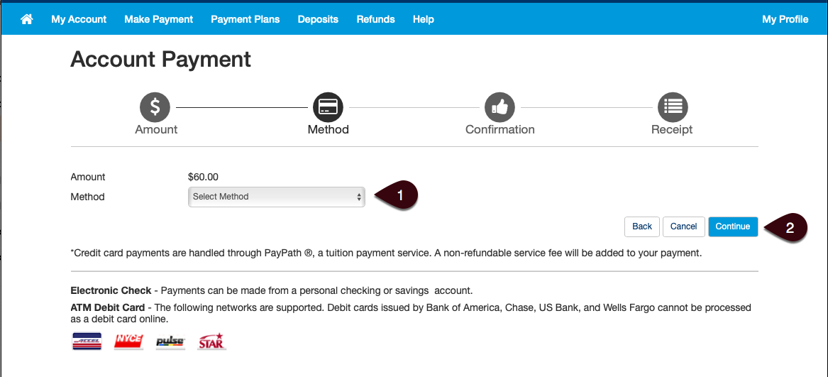 Select Payment Method Screen