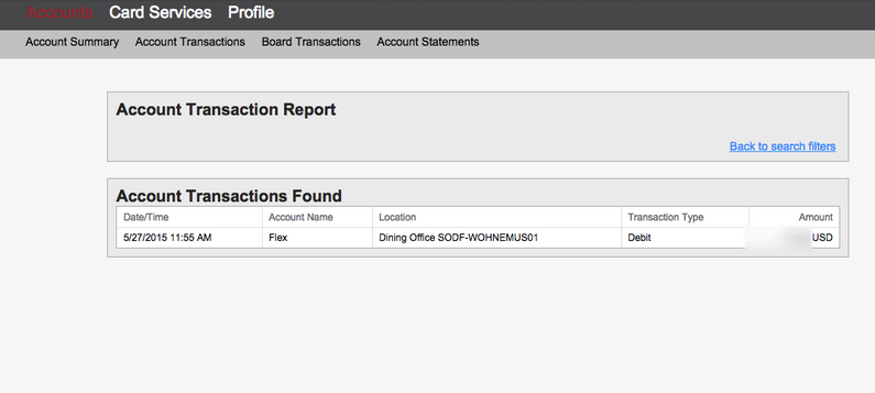 Transaction Report Screen