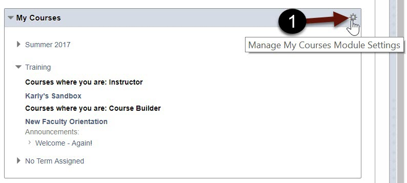 Manage My Course Module Settings