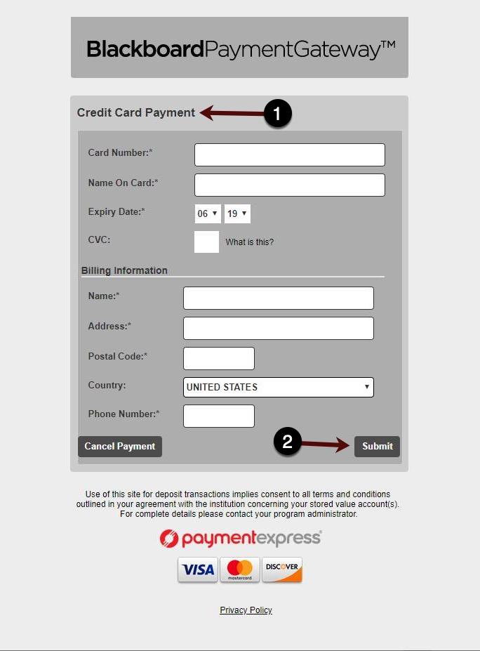 Credit Card Information Screen