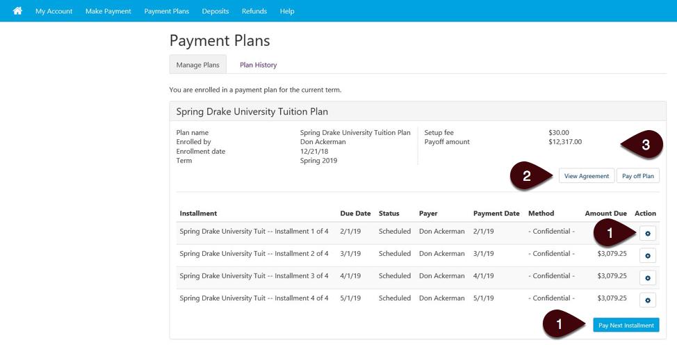 Payment Plan details screen
