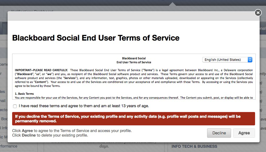 Blackboard Social End User Terms of Service