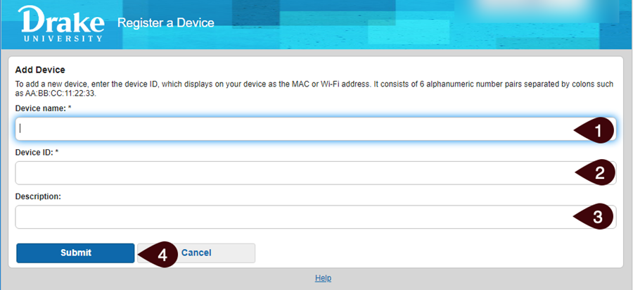 Entering device MAC address screen