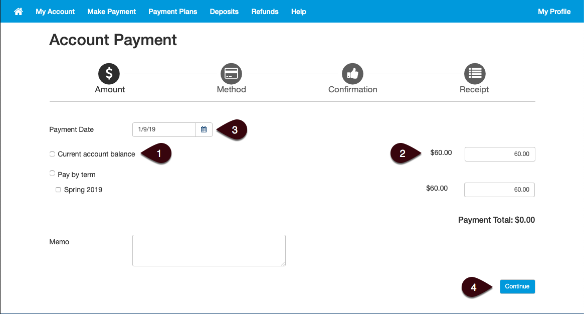 Acount Payment Screen