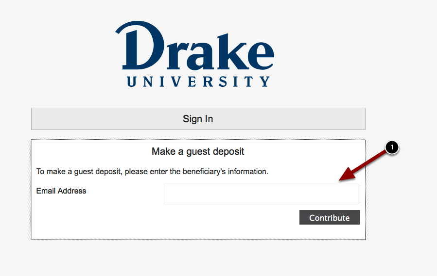 Make a guest deposit screen