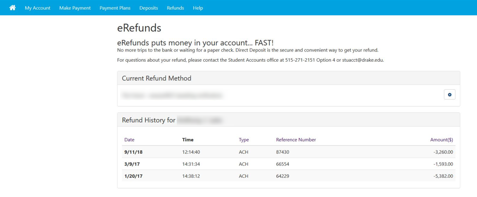 Your new ACH refund account has been saved screen