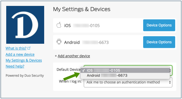 Default device dropdown menu screenshot