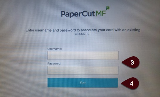 Login screen to associate card