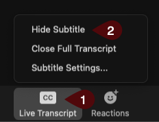 Image of how to show or hide transcripts in a zoom meeting