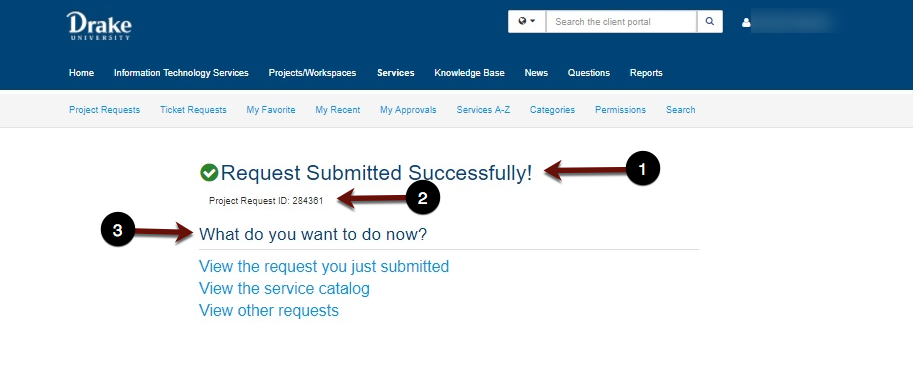 Request Submitted Successfully screenshot