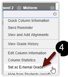 This image shows the Set as External Grade menu item.