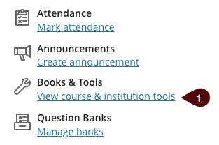 View course and institution tools