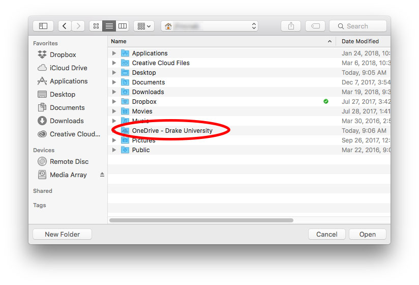OneDrive folder selection