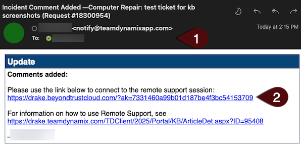 Example of email with link to remote support session