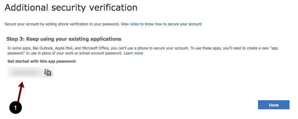 Additional App password screenshot