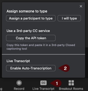 Image of options for enabling live transcriptions in a zoom meeting