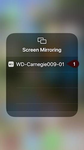 Selecting Screen Mirroring display