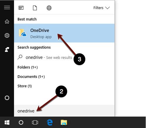Searching for OneDrive Win 10 screenshot
