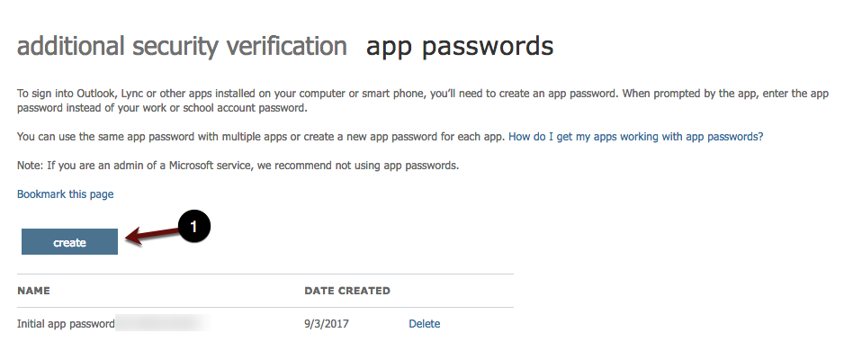 Create new password screenshot