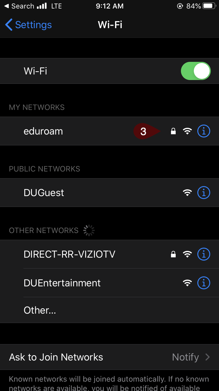 My Networks screen