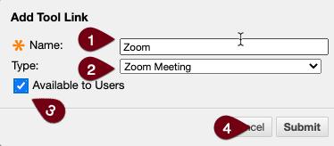 Zoom tool link menu