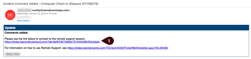 Example of an email with the remote support link