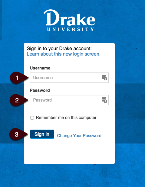 Login Screen for myDrake