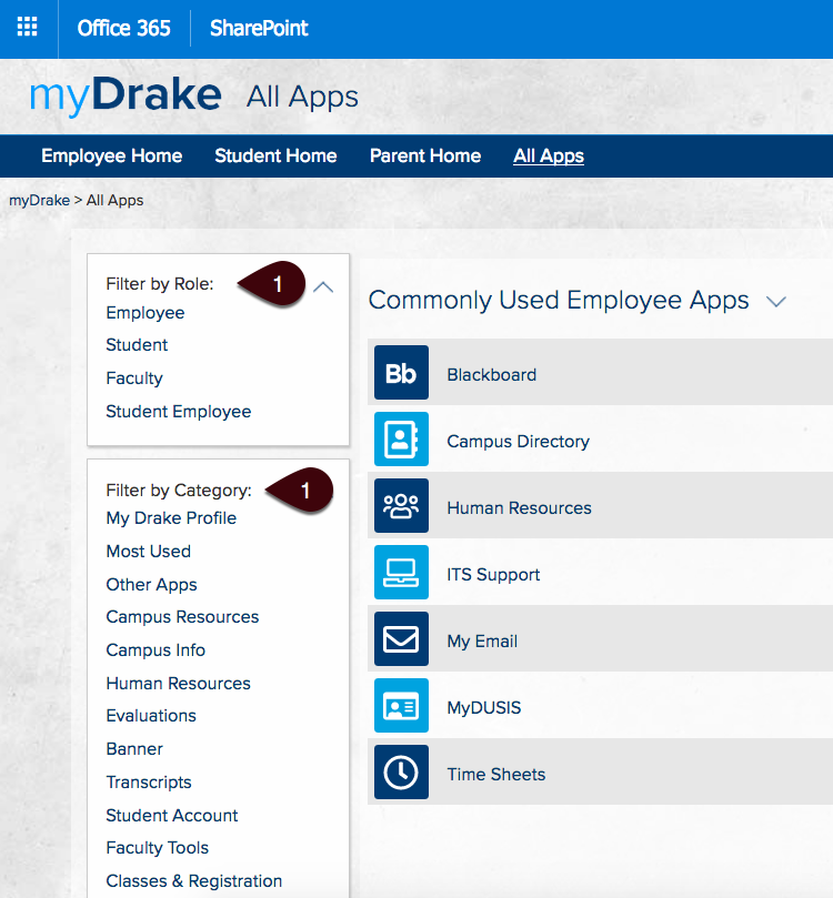 Filtering options for myDrake All Apps