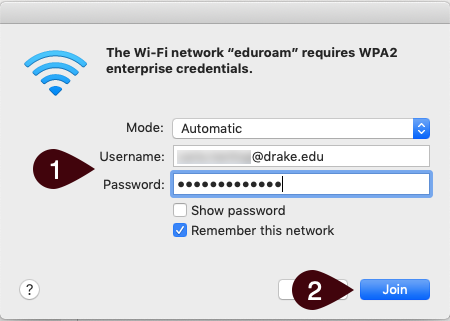 Logging into the eduroam WiFi network