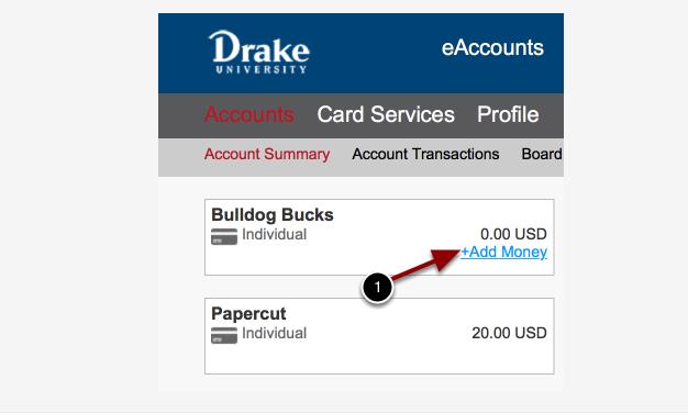 Adding Money Screen