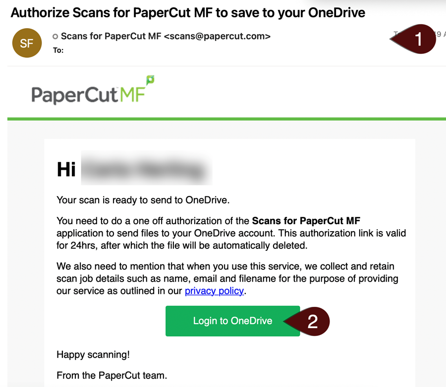 Authorize Scans email from PaperCut