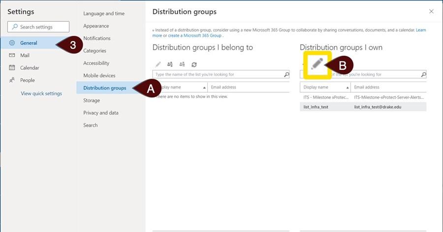 General and Distribution list menu
