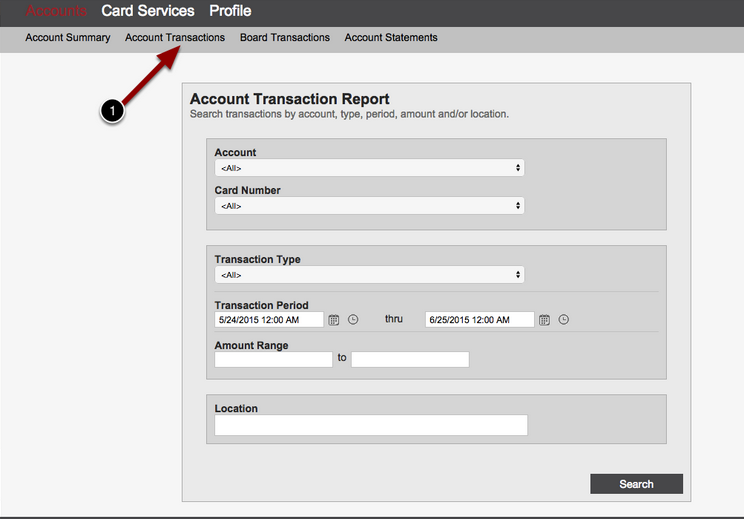 Account Transactions Screen
