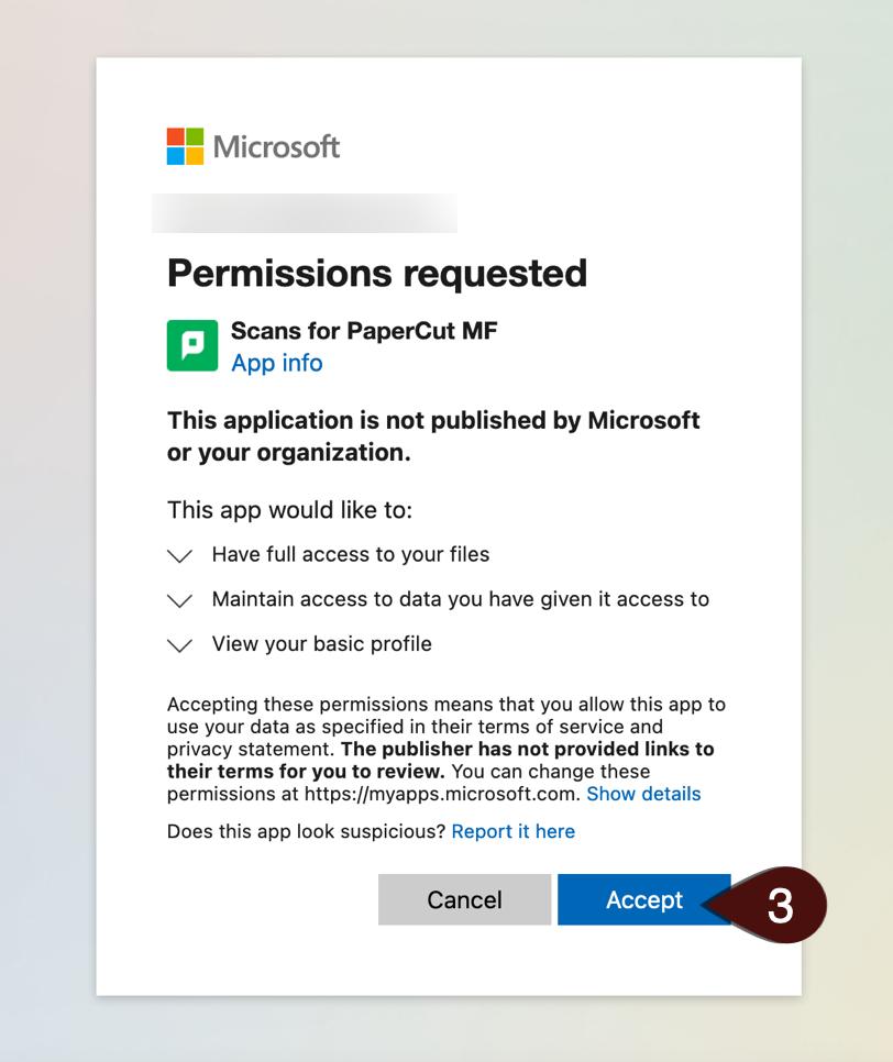 Permissions Pop Up screen