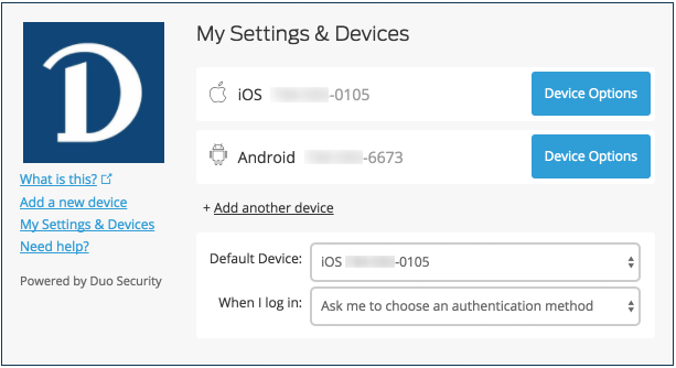 My Settings & Devices screenshot