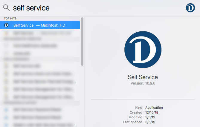 Image of the self service app
