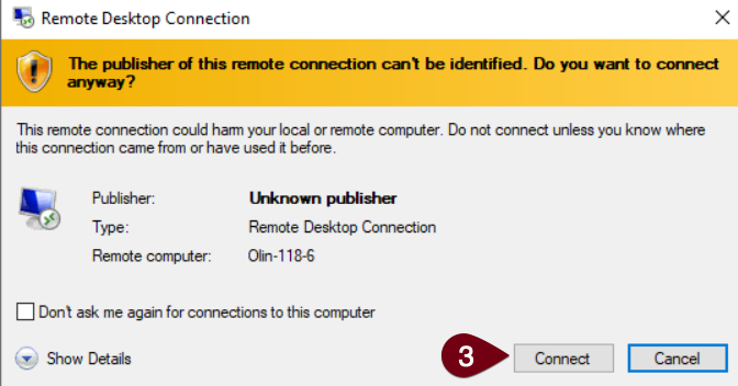 image of rdp remote connection verification