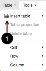 Table Menu screenshot