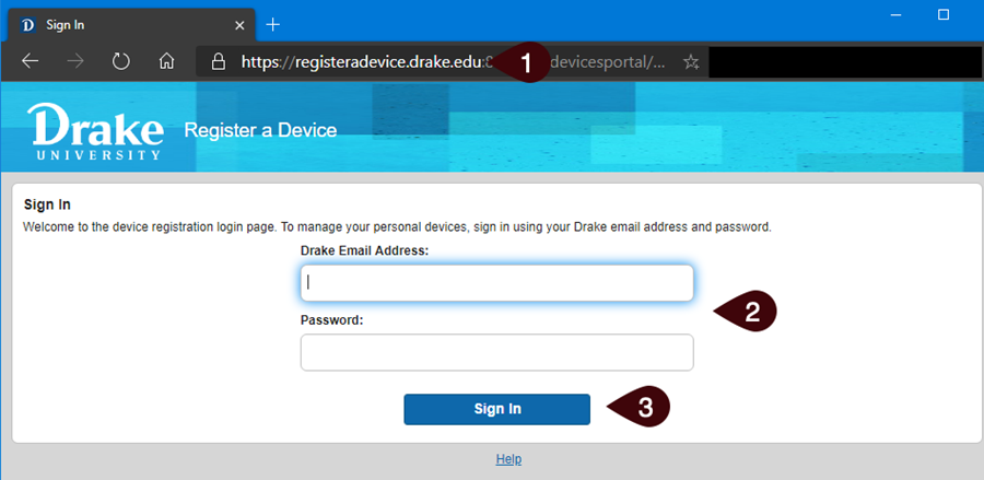 Device portal sign in screen