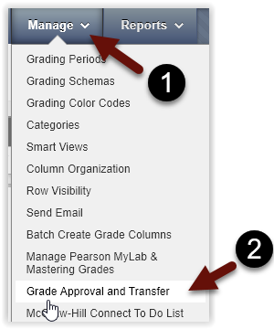 Grade Center, Manage menu, and select Grade Approval and Transfer.