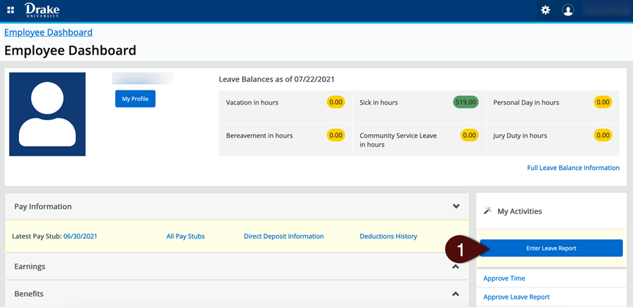 Enter Leave Report button on Employee Dashboard