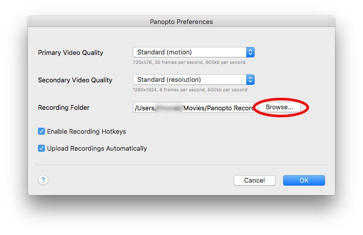 Panopto Preferences Screen