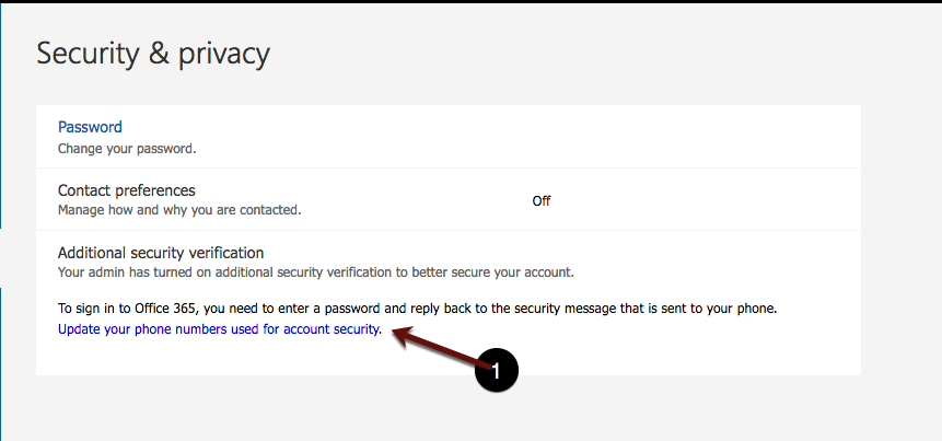 Update your phone numbers used for account security screenshot