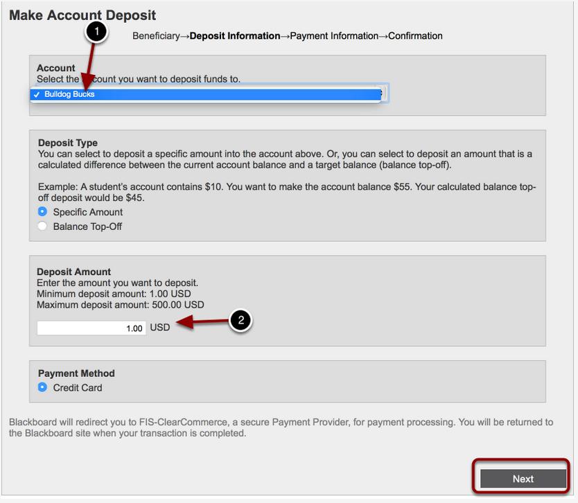 Make Account Deposit Screen