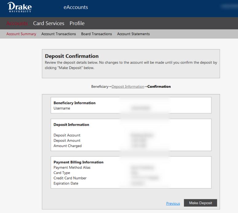 Deposit Confirmation Screen